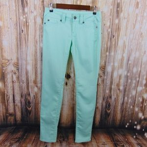 Maurice's Low Rise Jeggings in Mint Green